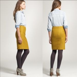 J. Crew Pencil skirt in double serge wool mustard